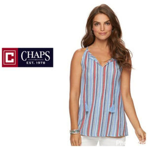 Chaps Women's Tank Top S M XL Blue Red White NWT
